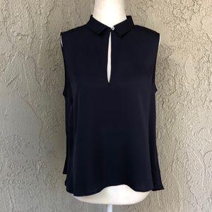 Theory Navy Blue Silk Blouse With Collar Medium